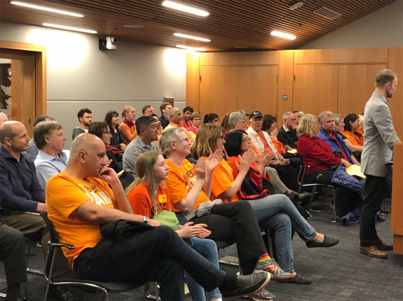 Gun safety advocates attend the May 1 Kirkland City Council meeting. Photo via Twitter