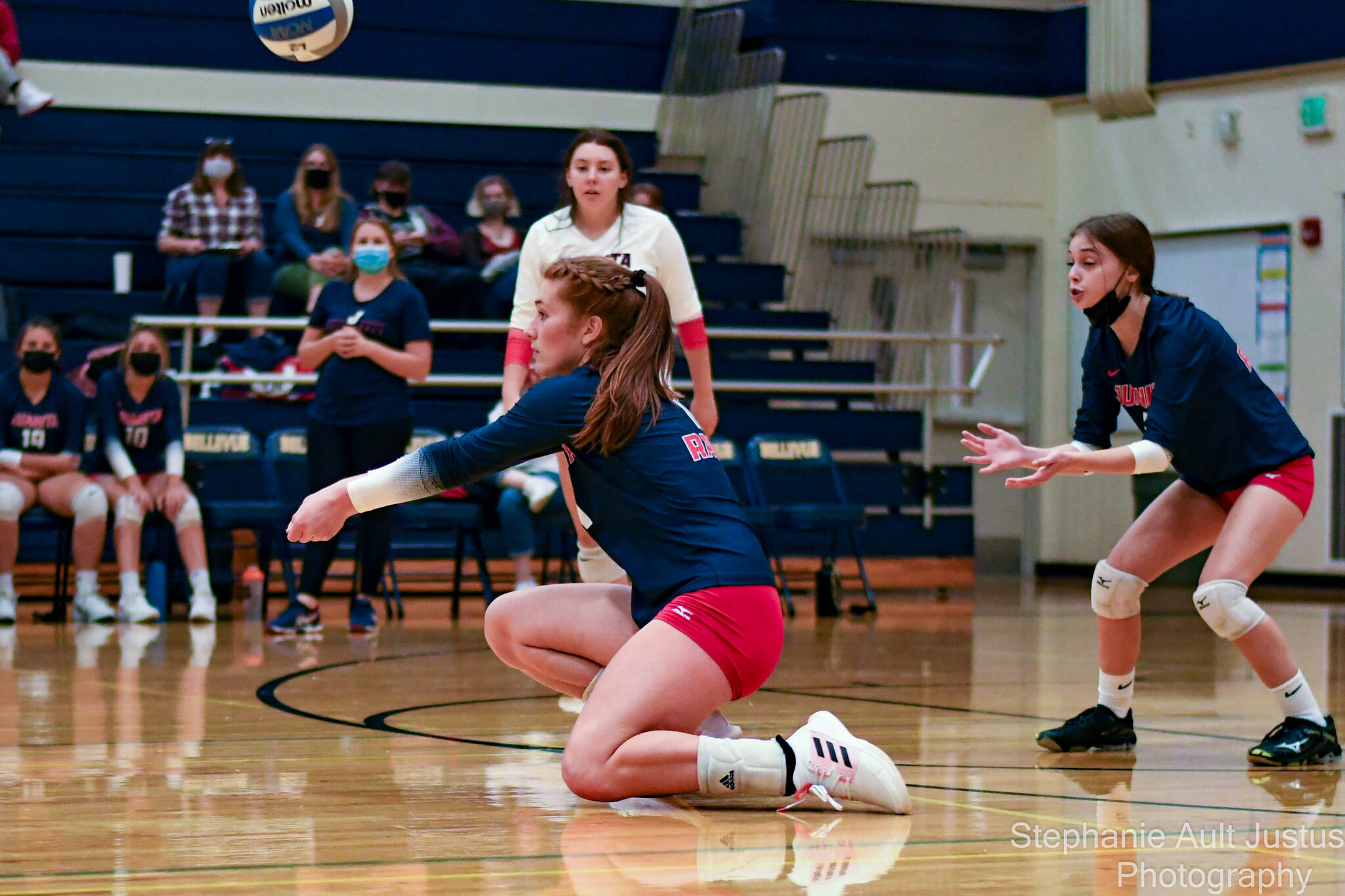 Juanita's Ashley Schroeder notches a dig during her squad's 3-0 volleyball loss to Bellevue on Sept. 20. Photo courtesy of Stephanie Ault Justus